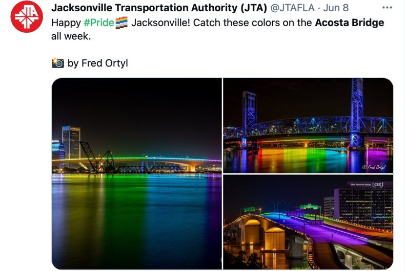 For a brief time, the Acosta Bridge was lit in rainbow colors before the Florida Transportation Authority ordered them shut off.