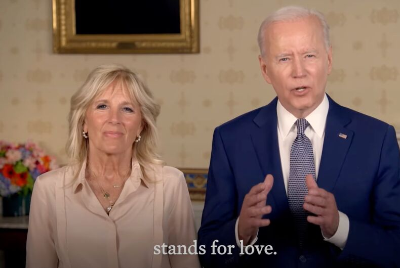 Dr. Jill Biden and President Joe Biden are wishing the LGBTQ community a happy Pride in this special video message.