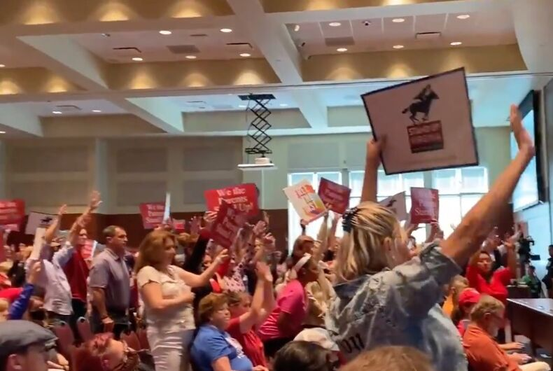 Religious right activists turned out to storm a school board meeting to protest calling students by their name and demand pupils not be taught something that isn't offered in the district.
