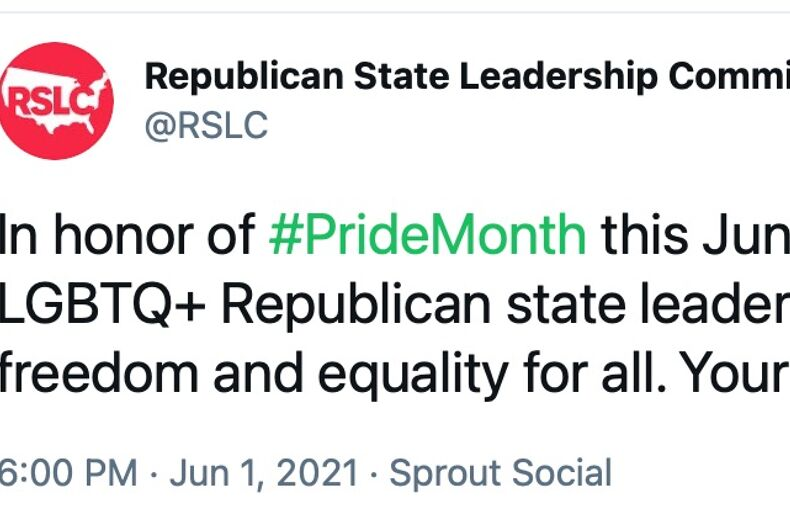 A Pride tweet from the Republican State Leadership Committee was met with scorn by the internet.