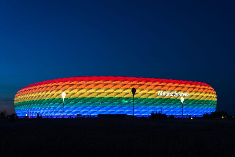 MUNICH, GERMANY - 9 JULY 2016: Allianz Arena illuminated in rainbow light on Christopher Street Day