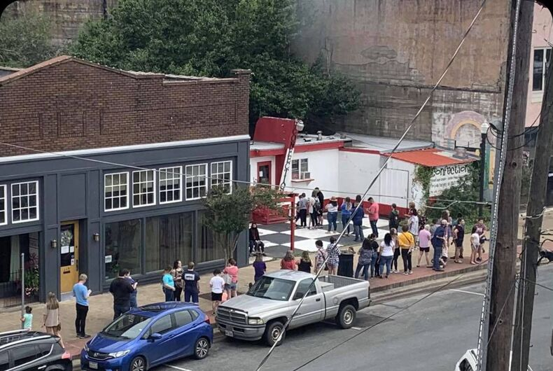 The line stretched around the block at Confections bakery in Lufkin, Texas.