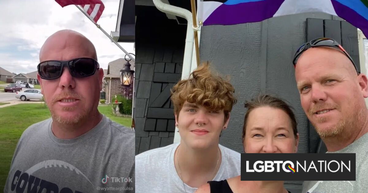 Viral video shows Oklahoma dad defiantly flying Pride flag in his conservative small town