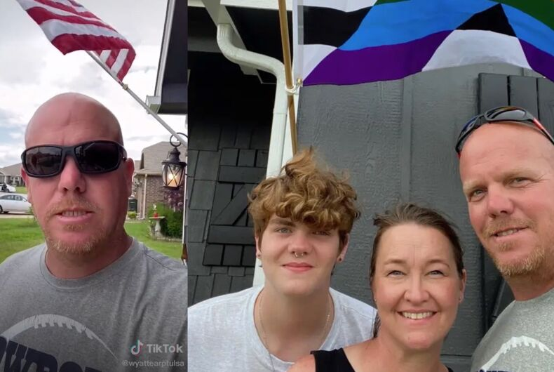 John, Janell, and Caden Wyatt are not afraid to show their pride.