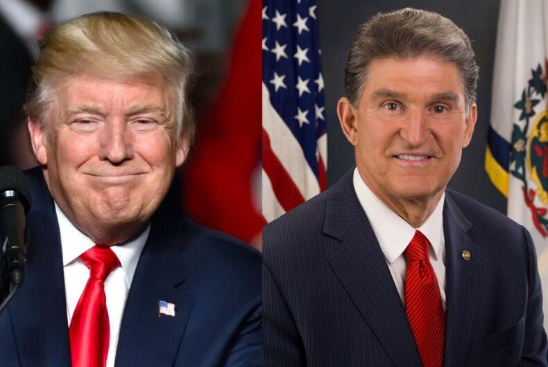 Donald Trump (l)/Sen. Joe Manchin