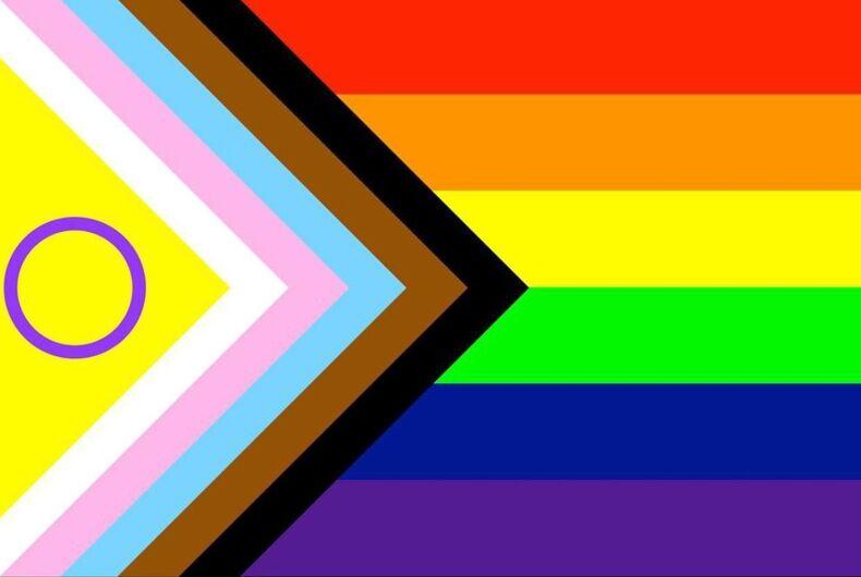 Valentino Vecchietti's update to Daniel Quasar's update to Amber Hikes' update to Gilbert Baker's iconic Pride flag.