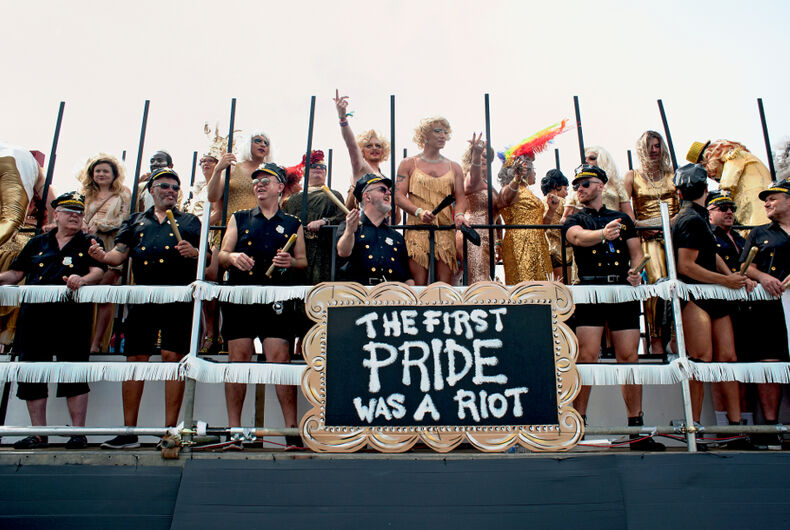 Brighton and Hove, August, 2019: Celebrants commemorate the 50th anniversary of the Stonewall Riots at the Pride Parade on the Brighton seafront.