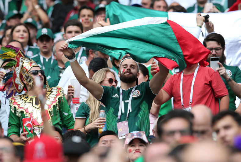 Mexicans fans celebrate Lozano gol in Fifa World Cup Russia 2018, Group F, football match between GERMANY v MEXICO in Luzhniki Stadium in Moscow.
