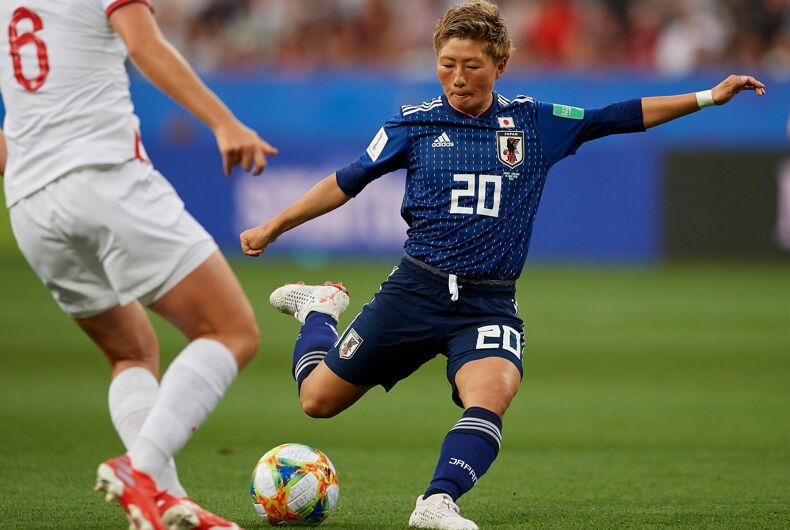 Kumi Yokoyama (Ac Nagano Parceiro) of Japan shooting to goal during the 2019 FIFA Women's World Cup France group D match between Japan and England at Stade de Nice on June 19, 2019 in Nice, France.