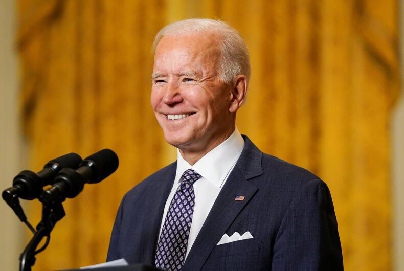 31 March 2021: This picture shows American President Joe Biden giving strength during press conference