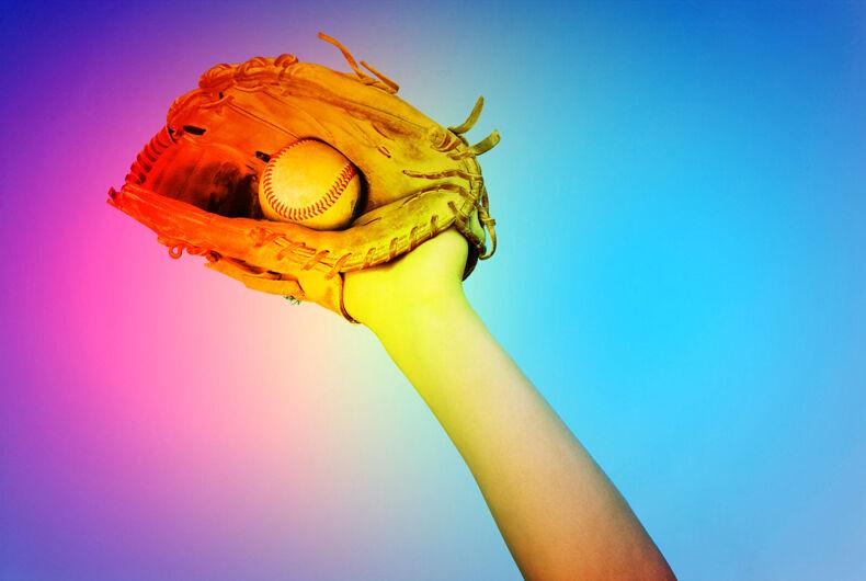 Baseball glove and ball in rainbow/Pride/LGBTQ tint