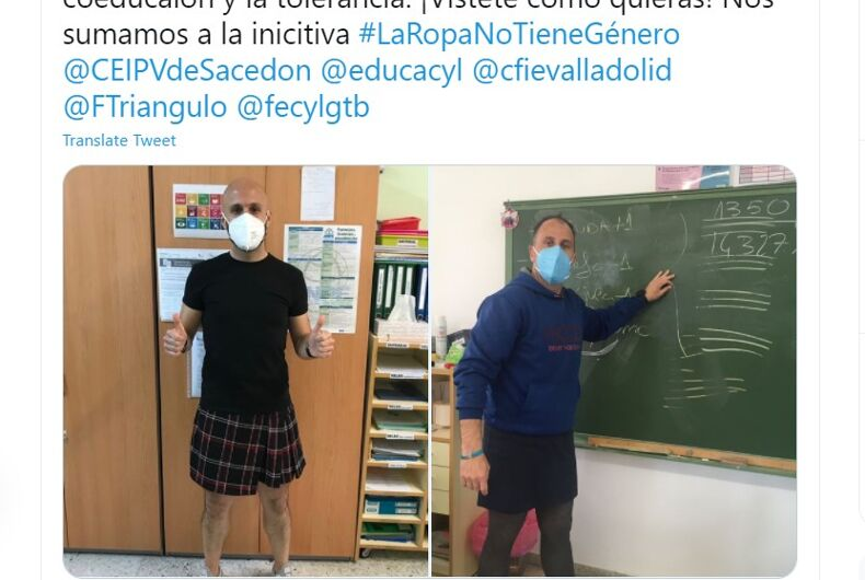 Teachers wore skirts in May in support of a student sent to a psychologist for wearing one
