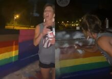 White woman screams abuse at students while spray painting over their Pride mural