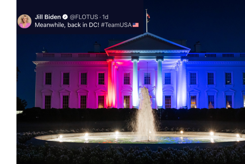 The White House on July 23, as tweeted by First Lady Dr. Jill Biden