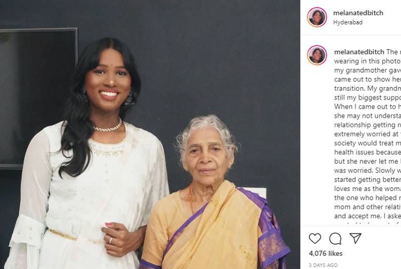 Kali, a trans woman (left), and her more-than-accepting grandmother (right).