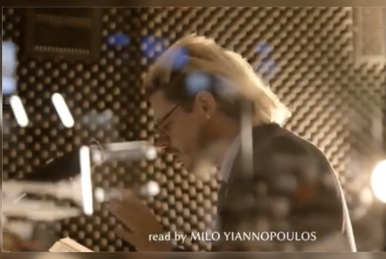 Footage of Milo Yiannopoulos reading Bible verses for his planned audiobook with TruNews and Flowing Streams Church.