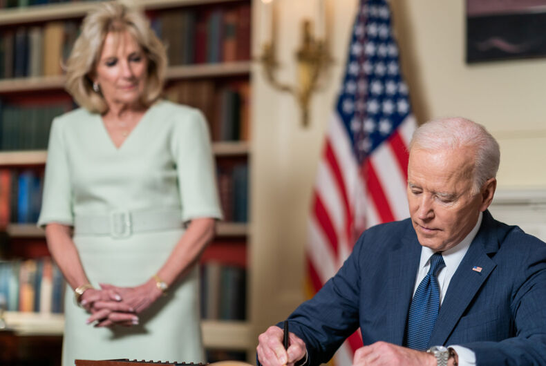 President Joe Biden, joined by First Lady Jill Biden, signs the Month of the Military Child Proclamation Wednesday, March 31, 2021, in the Library of the White House. (Official White House Photo by Adam Schultz)