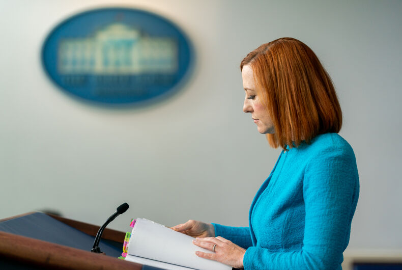 White House Press Secretary Jen Psaki pauses for a moment as she addresses reporters on Thursday, April 15, 2021, in the James S. Brady Press Briefing Room of the White House. (Official White House Photo by Cameron Smith)