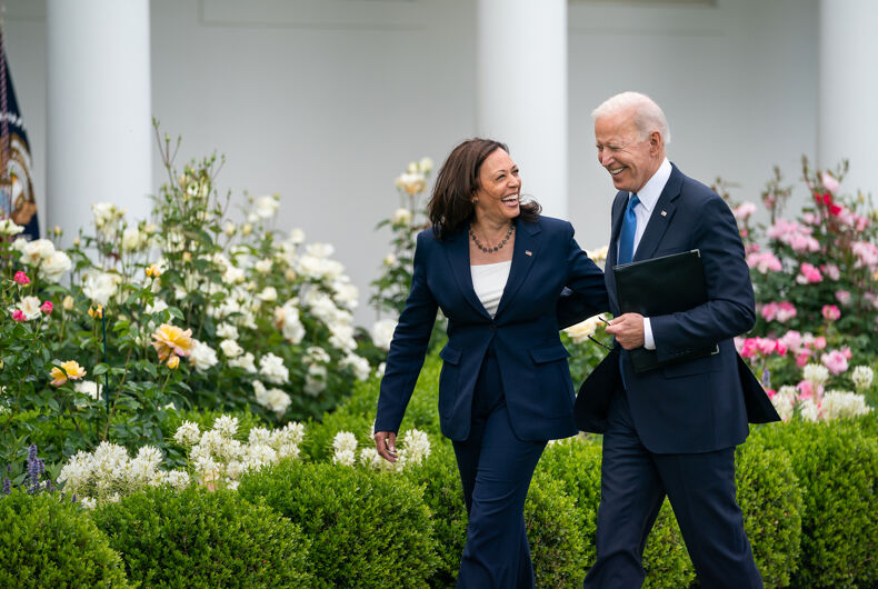 President Joe Biden, joined by Vice President Kamala Harris, after delivering remarks on the CDC's updated guidance on mask wearing for vaccinated individuals Thursday, May 13, 2021, in the Rose Garden of the White House. (Official White House Photo by Adam Schultz)