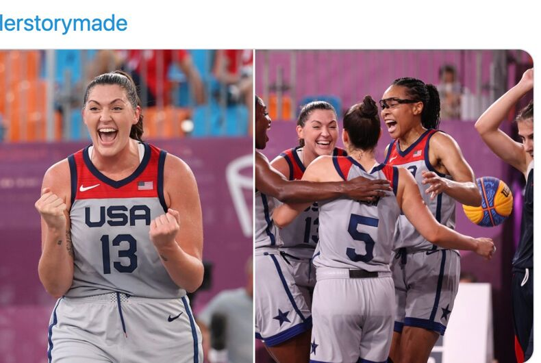Big Mama Stef Dolson celebrates after winning a gold medal at the Olympics with her 3-on-3 basketball teammates