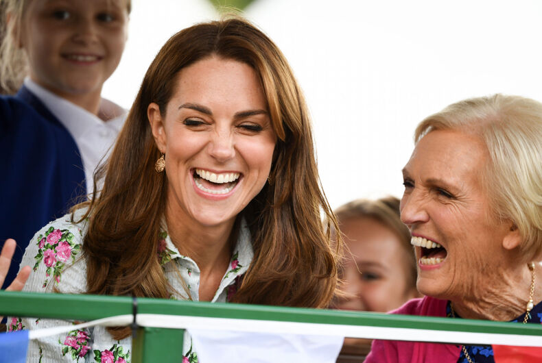 London, UK September 10, 2019: The Duchess of Cambridge laughs with former Great British Bake Off judge Mary Berry at the 'Back to Nature' Festival at RHS Garden Wisley.