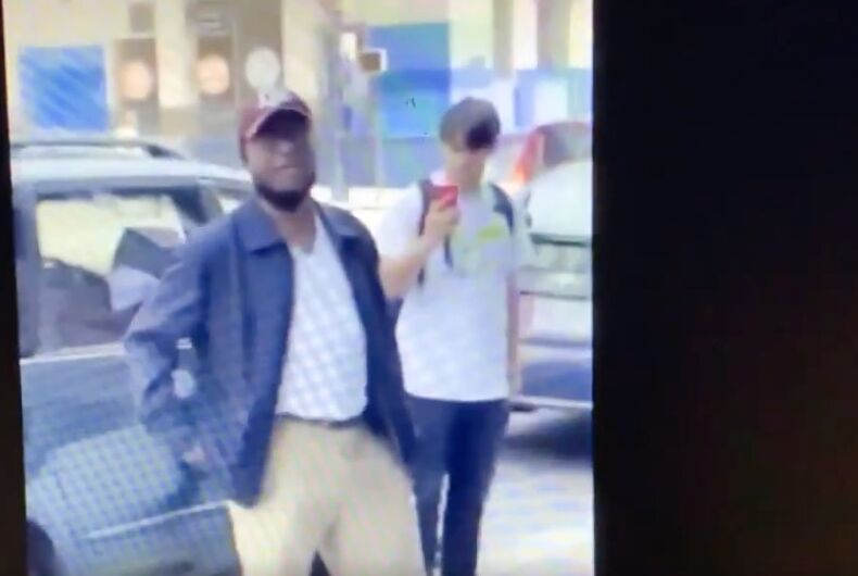 An unidentified man hurled racist slurs at a gay couple in San Francisco