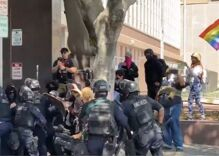 QAnon believers, trans activists, white nationalists & Antifa clash in bloody riot outside LA spa