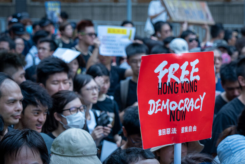 Hong Kong July 14 2019: Hong Kongers march in Sha Tin against an extradition bill demanded by the Chinese government, sparking unprecedented violence by riot police.