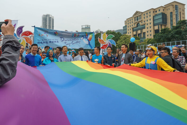 HONG KONG, CHINA - NOV 25, 2017: Members of the Legislative Council and NGOs join the pride parade in support minority rights.