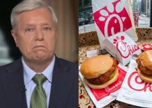 """Lindsey Graham swears he'll go to """"war"""" to defend Chick-fil-A from Catholic students"""