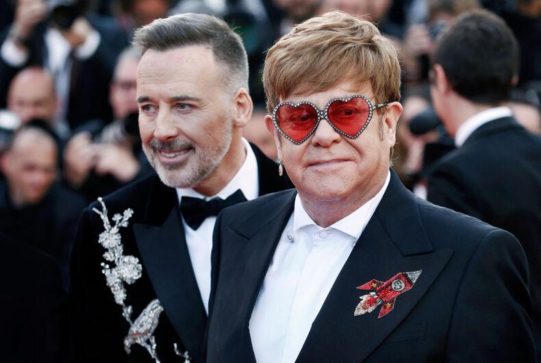 Elton John and his husband David Furnish at Cannes in 2019.