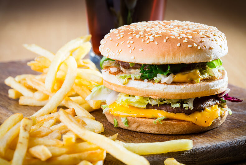Tasty hamburger, cheeseburger, fries, soda, drink, fast food meal