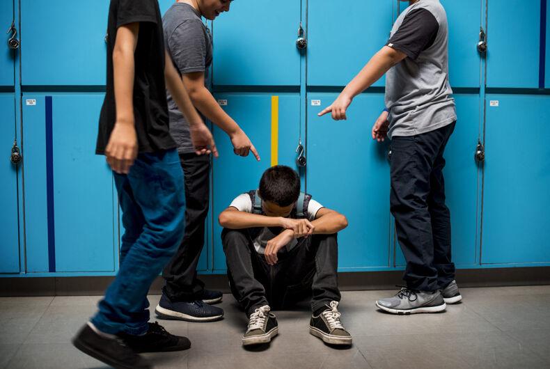 Boy student getting bullied in school