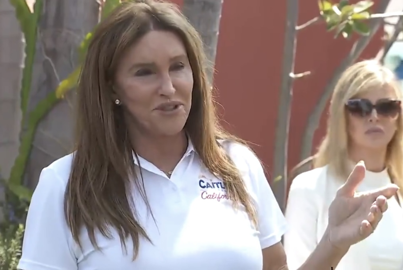 Caitlyn Jenner speaking at a press conference at Venice Beach