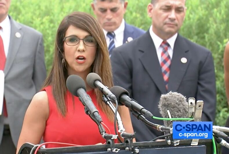 Rep. Lauren Boebert (R-CO) speaks during a Freedom Caucus press conference on Aug 31, 2021.
