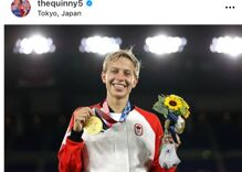 Quinn becomes the first out trans athlete in the history of the Olympics to win gold