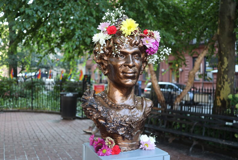 A bust of Marsha P. Johnson sculpted by Jesse Pallotta is displayed in NYC's Christopher Park.