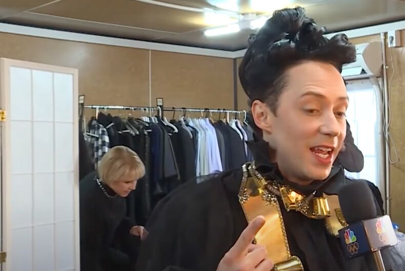 Olympic athlete turned NBC announcer Johnny Weir gets ready before a broadcast