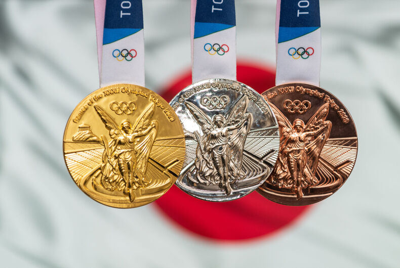 April 25, 2021 Tokyo, Japan. Gold, silver and bronze medals of the XXXII Summer Olympic Games 2020