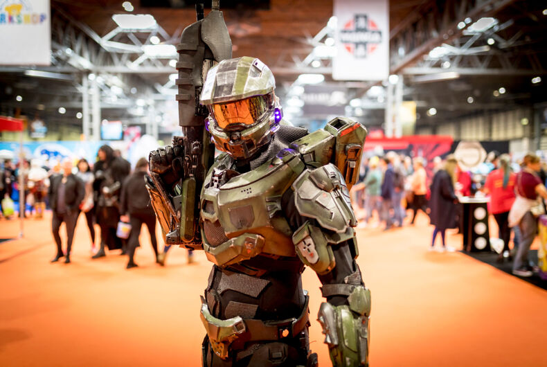 March 17, 2018. A cosplayer dressed as an Halo Master Chief the Activision video game series at a comic con in Birmingham, UK