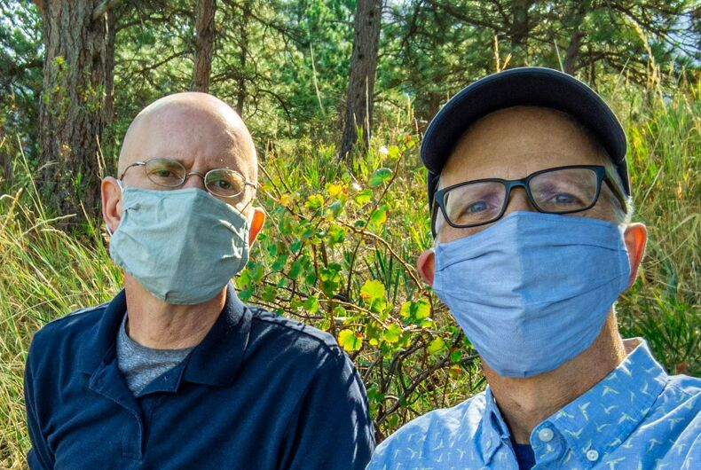 Brent Hartinger and Michael Jensen mask up