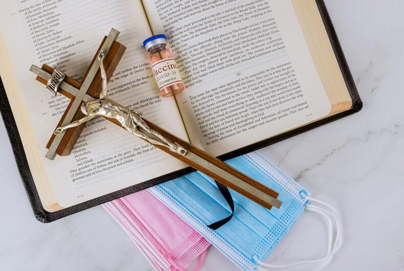 Bible, masks, cross, vaccine