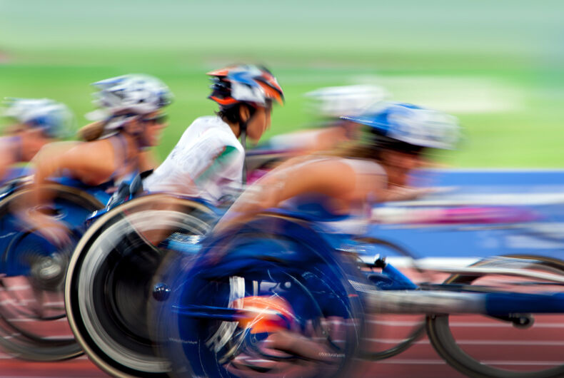 finishing spurt wheelchair in motion at the stadium