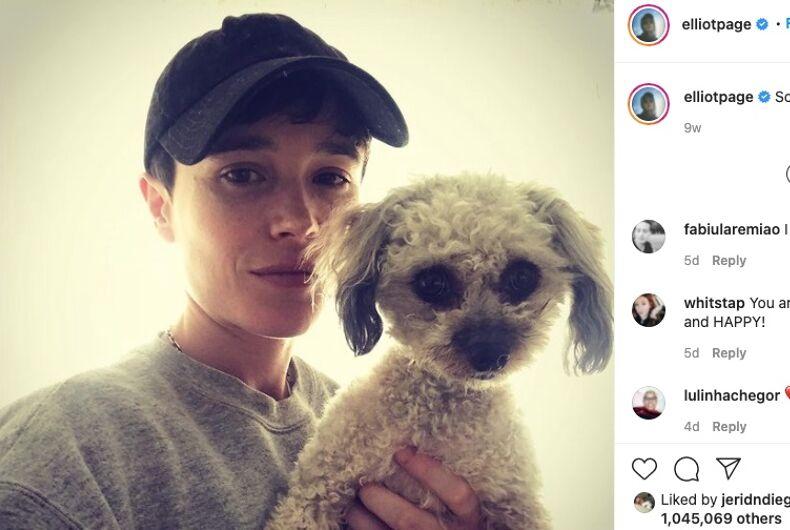 transgeder actor, Elliot Page, dog, Mark, music album, EP
