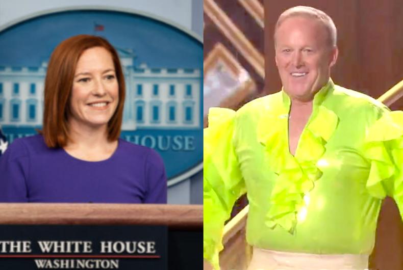 White House Press Secretary Jen Psaki (left) and ex-Press Secretary Sean Spicer (right)
