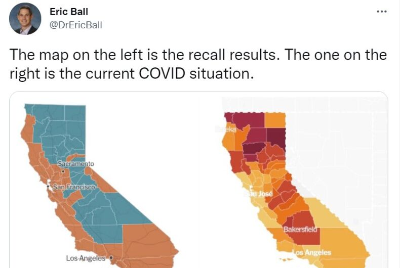 California is divided along political and COVID-19 lines.