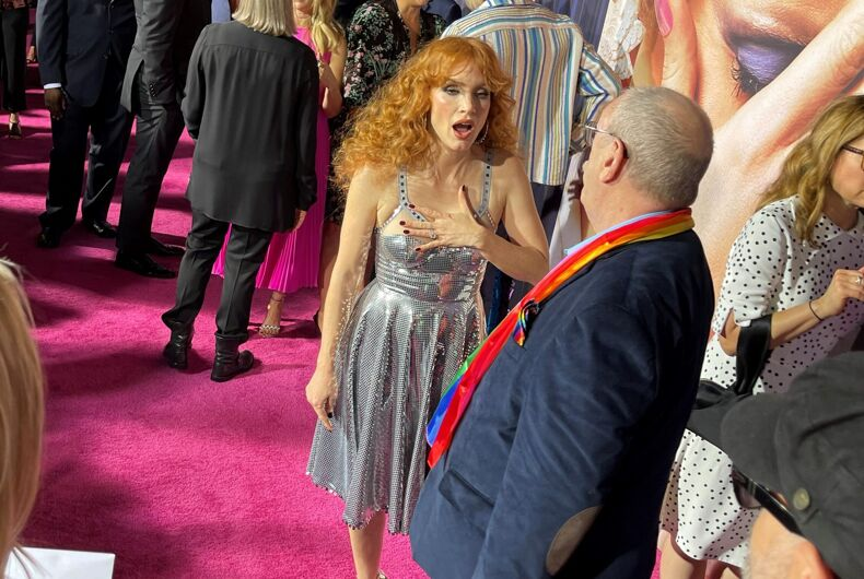 Jessica Chastain spots Rev. Steve Pieters on the red carpet and realizes who he is.