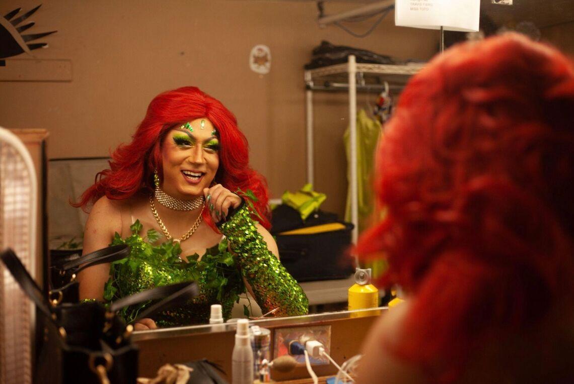 Nonbinary drag performer Jo MaMa backstage at Berlin nightclub in Chicago.