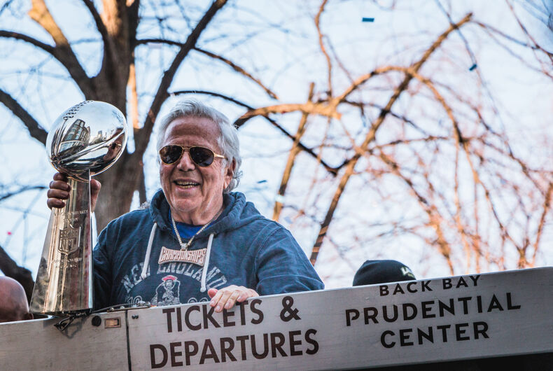 FEBRUARY 5, 2019: New England Patriots owner, Robert Kraft, celebrates their Super Bowl LIII victory with a parade in Boston, MA.