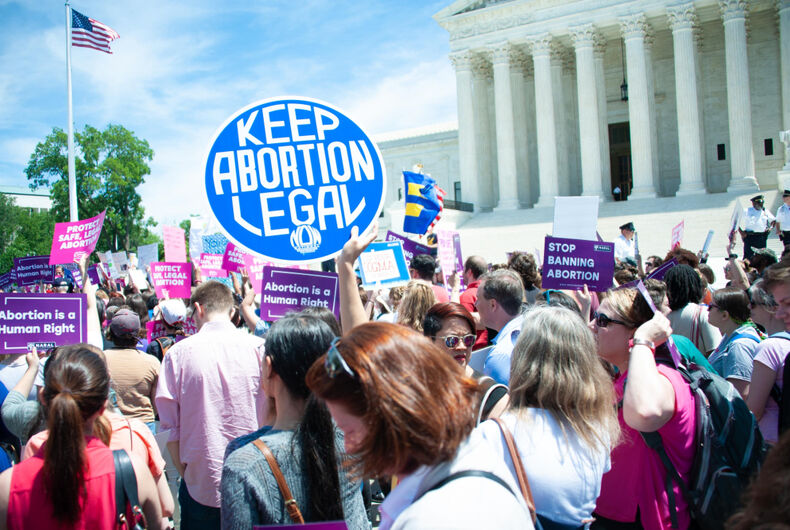 Pro-choice activists rally to stop states' abortion bans in front of the Supreme Court in Washington, DC on May 21, 2019